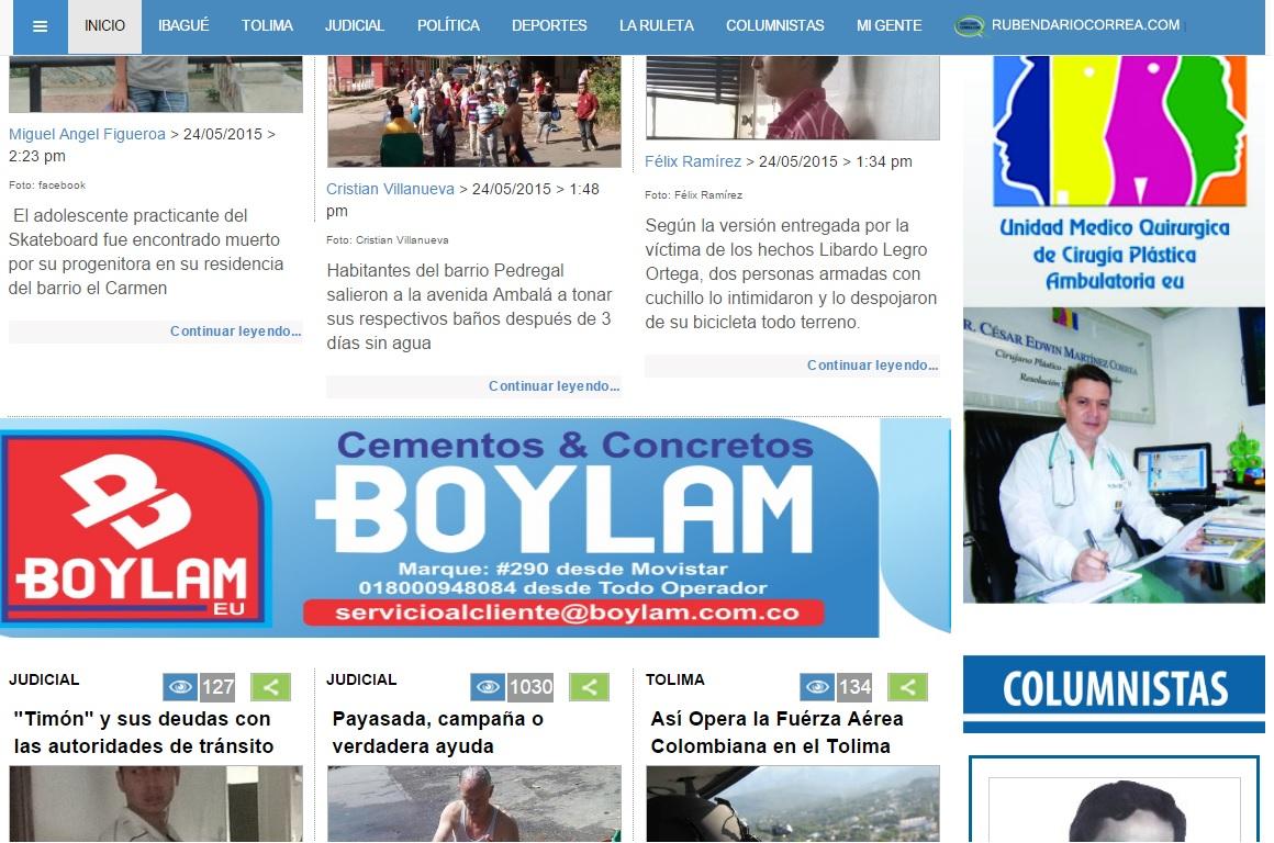 Pauta de Boylam en medios digitales de Ibagué