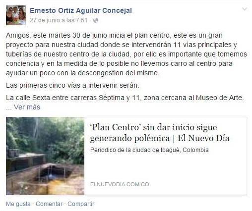 Facebook de Ernesto Ortiz