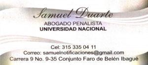 Publicidad Samuel Duarte abogado penalista
